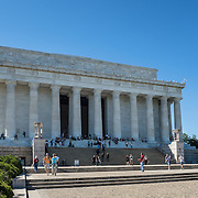 Facade of the Lincoln Memorial in the National Mall, Washington DC.