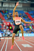 Juan Miguel Echevvaria (CUB) wins the long jump at 22-5 (8.66m) during the 57th Ostrava Golden Spike track and field meeting in a IAAF World Challenge event at Mestsky Stadium in Ostrava, Czech Republic, Wednesday, June 13, 2018. (Jiro Mochizuki/Image of Sport)