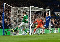 Football - 2018 / 2019 Premier League - Chelsea vs. Brighton & Hove Albion<br /> <br /> Solly March (Brighton & Hove Albion) tries to hook the ball back across the face of the Chelsea goal at Stamford Bridge <br /> <br /> COLORSPORT/DANIEL BEARHAM