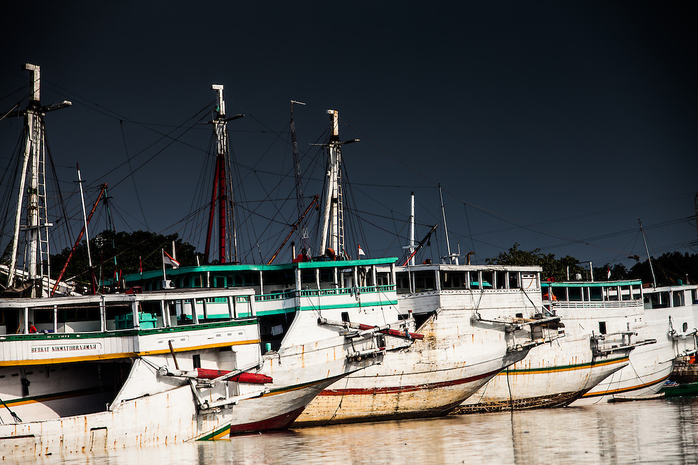 Where: Jakarta, Indonesia. Fishing boats in port.