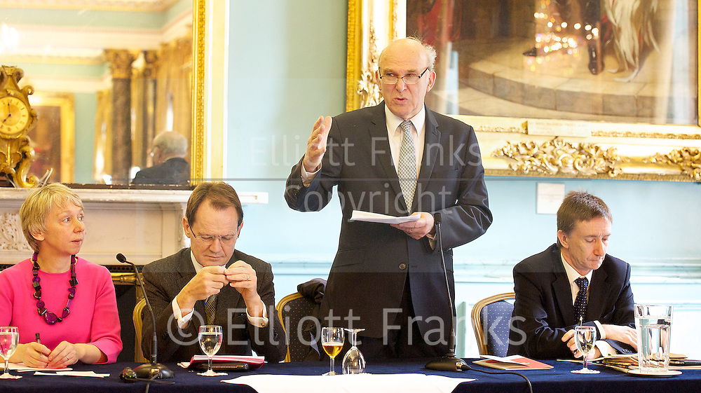 Rt Hon Vince Cable MP<br /> keynote speech at the Institute of Directors, London, Great Britain <br /> 15th April 2013 <br /> <br /> &quot;No More than we deserve<br /> The rights &amp; wrongs of high &amp; low pay &quot;<br /> <br /> Presented by the High Pay Centre and the Resolution Foundation<br /> <br /> <br /> Vince Cable MP <br /> <br /> <br /> John Vincent &quot;Vince&quot; Cable (born 9 May 1943) is a British Liberal Democrat politician who has been the Secretary of State for Business, Innovation and Skills since 2010 and the Member of Parliament for Twickenham since 1997.<br /> <br /> Photograph by Elliott Franks