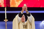 Archbishop Timothy Dolan celebrates Mass at Palacio des Desportes (the English Speaking Stadium)