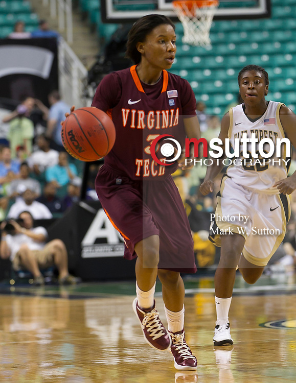 during the 1st round game between Wake Forest and Virginia Tech in the 2012 ACC Women's Basketball Tournament in Greensboro, North Carolina.  Wake won 80 - 74.  March 01, 2012  (Photo by Mark W. Sutton)