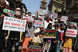 May 4, 2019 - Mumbai, India - Muslims in India hold placards during a protest to condemn Sri Lanka blasts in Mumbai on 04 May 2019. More than 300 people killed in a coordinated series of blasts on 21 April 2019 in Sri Lankan as per media report. (Credit Image: © Himanshu Bhatt/NurPhoto via ZUMA Press)
