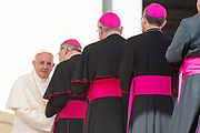 Pope Francis greets bishops during his weekly general audience, in St. Peter's Square, at the Vaticanon on April 25, 2018.