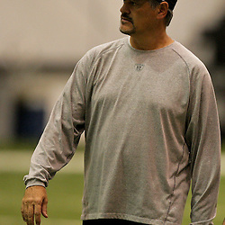 12 August 2009: Saints general manager Mickey Loomis on the field during New Orleans Saints training camp at the team's indoor practice facility in Metairie, Louisiana.