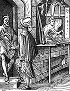 Arquebusier or hand-gun maker. Woodcut by Jost Amman (1539-1591) Swiss engraver.