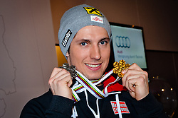 15.02.2013, Audi Media Lounge, AUT, FIS Weltmeisterschaften Ski Alpin, Schladming, im Bild Marcel Hirscher (AUT, 2. Platz) // 2nd place Marcel Hirscher (AUT) during FIS Ski World Championships 2013 at the Audi Media Lounge, Schladming, Austria on 2013/02/15. EXPA Pictures © 2013, PhotoCredit: EXPA/ Markus Casna