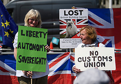© Licensed to London News Pictures. 15/05/2019. London, UK. Brexit supporters gather in Westminster, London. Government has announced that MPs will get another chance to vote on Theresa May's Brexit Bill in early June, after EU parliament elections. Photo credit: Ben Cawthra/LNP