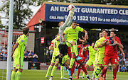 Hartlepool defend a corner  during the Sky Bet League 2 match between York City and Hartlepool United at Bootham Crescent, York, England on 15 August 2015. Photo by Simon Davies.