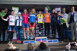 The jersey wearers gather on the podium after Stage 1b of the Healthy Ageing Tour - a 77.6 km road race, starting and finishing in Grijpskerk on April 5, 2017, in Groeningen, Netherlands.