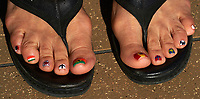 The Dean's toenails painted with flags of the countries visited during the Semester at Sea Summer 2014 Semester Voyage.