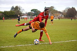 WOLVERHAMPTON, ENGLAND - Tuesday, December 19, 2017: Liverpool's Rafael Camacho and Wolverhampton Wanderer's Dion Sanderson during an Under-18 FA Premier League match between Wolverhampton Wanderers and Liverpool FC at the Sir Jack Hayward Training Ground. (Pic by David Rawcliffe/Propaganda)