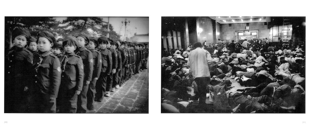 L:  Uniformed students brave the winter cold while standing in formation inside Tiananmen Gate.  Beijing, China.  2000..R:  Homeless migrants from the countryside sleep in the Beijing Train Terminal.  Beijing, China.  1994
