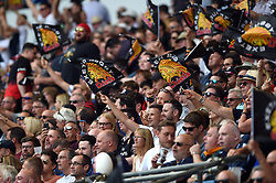 Exeter Chiefs fans in the crowd celebrate - Mandatory byline: Patrick Khachfe/JMP - 07966 386802 - 01/06/2019 - RUGBY UNION - Twickenham Stadium - London, England - Exeter Chiefs v Saracens - Gallagher Premiership Final