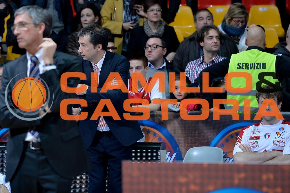 DESCRIZIONE : Final Eight Coppa Italia 2015 Finale Olimpia EA7 Emporio Armani Milano - Dinamo Banco di Sardegna Sassari<br /> GIOCATORE : Luca Banchi<br /> CATEGORIA : delusione<br /> SQUADRA : EA7 Emporio Armani Milano<br /> EVENTO : Final Eight Coppa Italia 2015<br /> GARA : Olimpia EA7 Emporio Armani Milano - Dinamo Banco di Sardegna Sassari<br /> DATA : 22/02/2015<br /> SPORT : Pallacanestro <br /> AUTORE : Agenzia Ciamillo-Castoria/Max.Ceretti