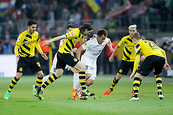 13.02.2015, Signal Iduna Park, Dortmund, GER, 1. FBL, Borussia Dortmund vs 1. FSV Mainz 05, 21. Runde, im Bild Shinji Okazaki (FSV Mainz 05 #23) gegen vl: Nuri Sahin (Borussia Dortmund #18), Neven Subotic (Borussia Dortmund #4) und Lukasz Piszczek (Borussia Dortmund #26) // during the German Bundesliga 21th round match between Borussia Dortmund and 1. FSV Mainz 05 at the Signal Iduna Park in Dortmund, Germany on 2015/02/13. EXPA Pictures © 2015, PhotoCredit: EXPA/ Eibner-Pressefoto/ Schueler<br /> <br /> *****ATTENTION - OUT of GER*****