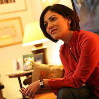 London, United Kingdom - January 2008, BBC News presenter Mishal Husain at her home in West London.