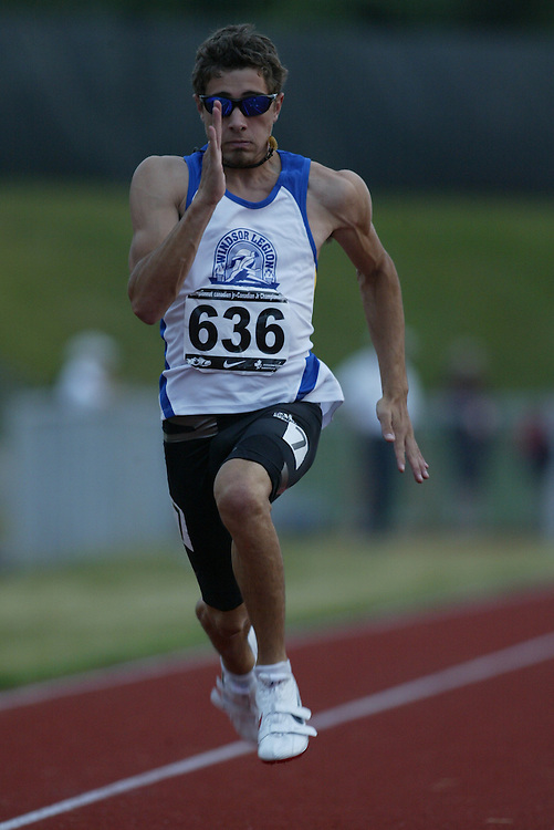 (Charlottetown, Prince Edward Island -- 20090714) Tyler Macleod of Windsor Legion Track & FI competes in the  100m at the 2009 Canadian Junior Track & Field Championships at UPEI Alumni Canada Games Place on the campus of the University of Prince Edward Island, July 17-19, 2009.  Sean Burges / Mundo Sport Images ..Mundo Sport Images has been contracted by Athletics Canada to provide images to the media.