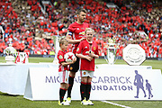 Manchester United 08 XI Michael Carrick and son daughter during the Michael Carrick Testimonial Match between Manchester United 2008 XI and Michael Carrick All-Star XI at Old Trafford, Manchester, England on 4 June 2017. Photo by Phil Duncan.
