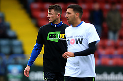 Ollie Clarke of Bristol Rovers and Liam Sercombe of Bristol Rovers wear 'Breast Cancer Now' and 'Kick it Out' shirts - Mandatory by-line: Robbie Stephenson/JMP - 21/10/2017 - FOOTBALL - Crown Oil Arena - Rochdale, England - Rochdale v Bristol Rovers - Sky Bet League One