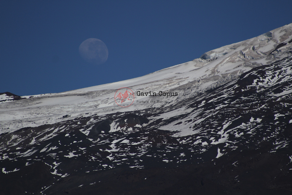 Moon set over Volcano Llaima, Conguillío National Park, Chile