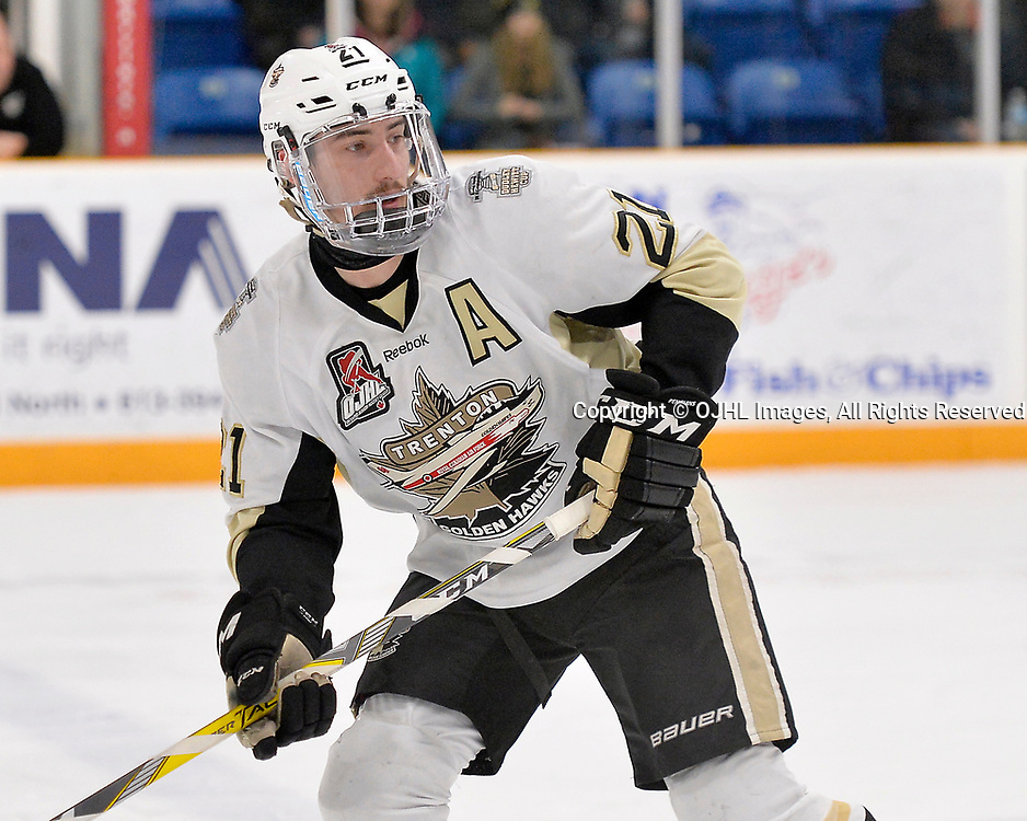 TRENTON, ON  - APR 15,  2017: Ontario Junior Hockey League, Championship Series.  Georgetown Raiders vs the Trenton Golden Hawks in Game 2 of the Buckland Cup Final.  Jeremy Pullara #21 of the Trenton Golden Hawks during the third period.<br /> (Photo by Shawn Muir / OJHL Images)