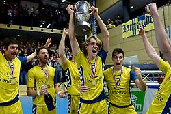 30-03-2013 VOLLEYBAL: LANDSTEDE VOLLEYBAL - ABIANT LYCURGUS: ZWOLLE<br /> 5de Play-off finale best of 5 - (L-R) Wouter Klapwijk, Ramon Martinez, Jorn Huiskamp, Stijn Held<br /> &copy;2013-FotoHoogendoorn.nl