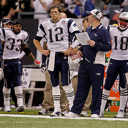 2009 November 30:  New England Patriots quarterback Tom Brady (12) stands on the sideline in the fourth quarter during a 38-17 win by the New Orleans Saints over the New England Patriots at the Louisiana Superdome in New Orleans, Louisiana.