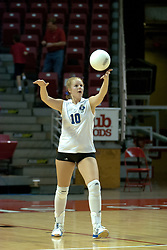 20 November 2004....Sarah Schuster serves....Illinois State University Redbirds V Drake Bulldogs Women's Volleyball.  Redbird Arena, Illinois State University, Normal IL