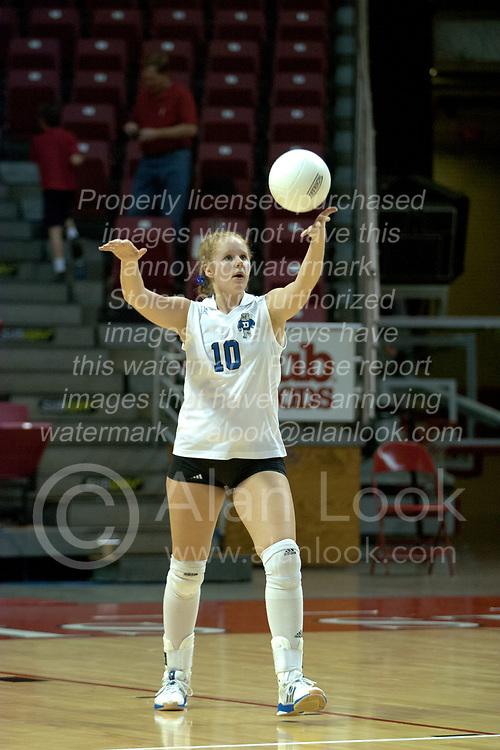 20 November 2004....Sarah Schuster serves....Illinois State University Redbirds V Drake Bulldogs Women's Volleyball.  Redbird Arena, Illinois State University, Normal IL