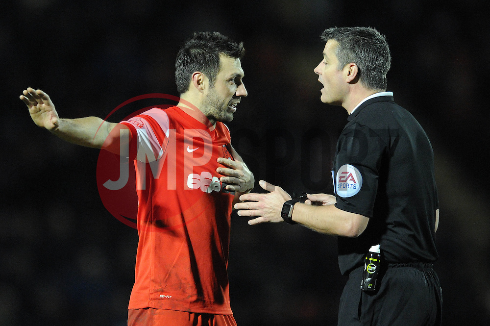 Leyton Orient's Andrea Dossena  protests with the referee - Photo mandatory by-line: Dougie Allward/JMP - Mobile: 07966 386802 - 03/03/2015 - SPORT - football - Leyton - Brisbane Road - Leyton Orient v Bristol City - Sky Bet League One