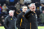 Hull City Manager Nigel Adkins shouting orders during the EFL Sky Bet Championship match between Hull City and Aston Villa at the KCOM Stadium, Kingston upon Hull, England on 31 March 2018. Picture by Mick Atkins.