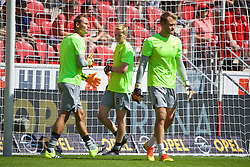 MAINZ, GERMANY - Sunday, August 7, 2016: Liverpool's goalkeeper Caoimhin Kelleher warms-up before a pre-season friendly match against FSV Mainz 05 with goalkeeper Alex Manninger and goalkeeper Simon Mignolet at the Opel Arena. (Pic by David Rawcliffe/Propaganda)