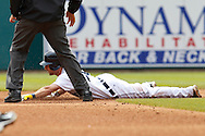 April 29, 2010:  Detroit Tigers' Scott Sizemore (20) slide into second base during the MLB baseball game between the Minnesota Twins vs Detroit Tigers at  Comerica Park in Detroit, Michigan. Tigers defeated the Twins 3-0.