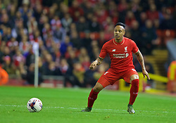 LIVERPOOL, ENGLAND - Wednesday, October 28, 2015: Liverpool's Nathaniel Clyne in action against AFC Bournemouth during the Football League Cup 4th Round match at Anfield. (Pic by David Rawcliffe/Propaganda)