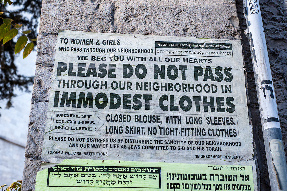 Sign entering the neighborhood of Mea Sharim, an Orthodox neighborhood in Jerusalem