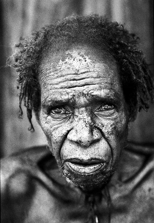 Old Dani Tribsman from Wesagalep village in the Jayawijaya region of West papua.