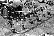 "29/04/1962<br /> 04/29/1962<br /> 29 April 1962<br /> Farm machinery at the R.D.S. Spring Show, Ballsbridge Dublin, feature with Julian Bayley for Farming Express. Image shows a ""Fahr"" side rake hitched to a Deutz tractor."