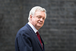 © Licensed to London News Pictures. 17/10/2017. London, UK. Secretary of State for Exiting the European Union David Davis leaving No 10 Downing Street after attending a Cabinet meeting this morning. Photo credit : Tom Nicholson/LNP