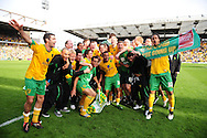 London - Saturday, April 17th 2010: Norwich City players celebrate after the final whistle at Coca Cola League One match at Carrow Road, Norwich..(Pic by Alex Broadway/Focus Images)