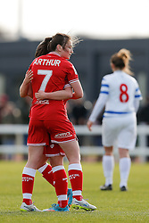 Chloe Arthur of Bristol City Women celebrates with Jodie Brett after scoring a goal - Mandatory byline: Rogan Thomson/JMP - 14/02/2016 - FOOTBALL - Stoke Gifford Stadium - Bristol, England - Bristol City Women v Queens Park Rangers Ladies - SSE Women's FA Cup Third Round Proper.