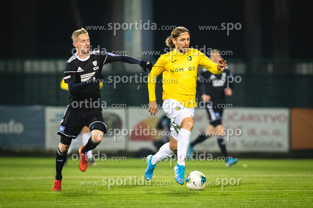 Žan Karničnik of Mura and Mitja Križan of Bravo during football match between NŠ Mura and NK Bravo in 20th Round of Prva liga Telekom Slovenije 2019/20, on December 5, 2019 in Fazanerija, Murska Sobota, Slovenia. Photo by Blaž Weindorfer / Sportida