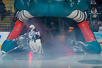 KELOWNA, CANADA - FEBRUARY 8:  James Porter #1 of the Kelowna Rockets enters they ice against the Prince George Cougars on February 8, 2019 at Prospera Place in Kelowna, British Columbia, Canada.  (Photo by Marissa Baecker/Shoot the Breeze)