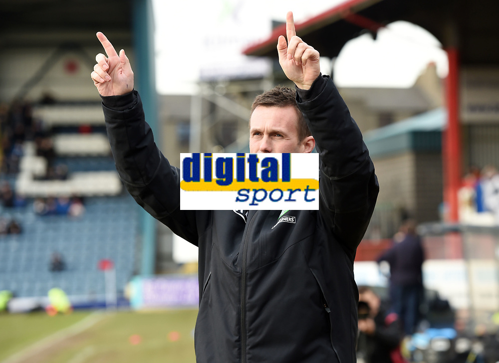 07/02/15 WILLIAM HILL SCOTTISH CUP 5TH RND<br /> DUNDEE v CELTIC<br /> DENS PARK - DUNDEE<br /> Celtic manager Ronny Deila salutes the fans before kick-off