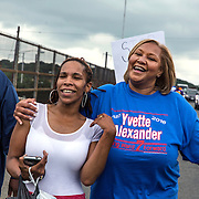 WASHINGTON, DC -JUNE4:  Council member Yvette Alexander (D-Ward 7) talks to constituents as she marches in an ant-violence rally June 4, 2016, along Benning Road in Washington, DC. Alexander is in the fight for her political life as her one time mentor and former Mayor Vincent Gray mounts a comeback, assailing her for poor constituent services, failure to respond to rising crime in the ward and bungling oversight of St. Elizabeths hospital and DC trust. (Photo by Evelyn Hockstein/For The Washington Post)