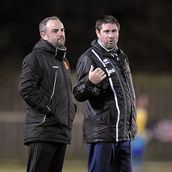 TELFORD COPYRIGHT MIKE SHERIDAN Newtown boss Chris hughes with Druids boss Huw Griffiths during the Cymru Premier fixture between Cefn Druids and Newtown AFC at the Rock on Friday, October 11, 2019<br /> <br /> Picture credit: Mike Sheridan/Ultrapress<br /> <br /> MS201920-024