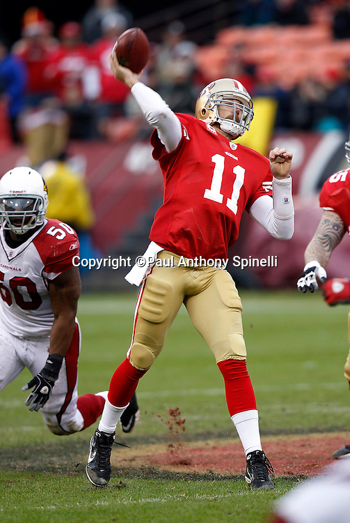 San Francisco 49ers quarterback Alex Smith (11) throws a pass during the NFL week 17 football game against the Arizona Cardinals on Sunday, January 2, 2011 in San Francisco, California. The 49ers won the game 38-7. (©Paul Anthony Spinelli)