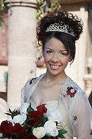 Bride with bouquet, portrait