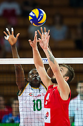 07.09.2014, Centennial Hall, Breslau, POL, FIVB WM, Serbien vs Kamerun, Gruppe A, im Bild Maliki Moussa cameroon #10 Uros Kovacevic serbia #2 // Maliki Moussa cameroon #10 Uros Kovacevic serbia #2 // during the FIVB Volleyball Men's World Championships Pool A Match beween Serbia and Cameroon at the Centennial Hall in Breslau, Poland on 2014/09/07. EXPA Pictures © 2014, PhotoCredit: EXPA/ Newspix/ Sebastian Borowski<br /> <br /> *****ATTENTION - for AUT, SLO, CRO, SRB, BIH, MAZ, TUR, SUI, SWE only*****
